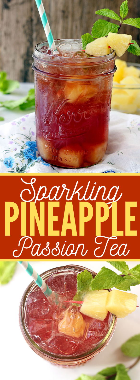 SPARKLING PINEAPPLE PASSION TEA #drink #summer