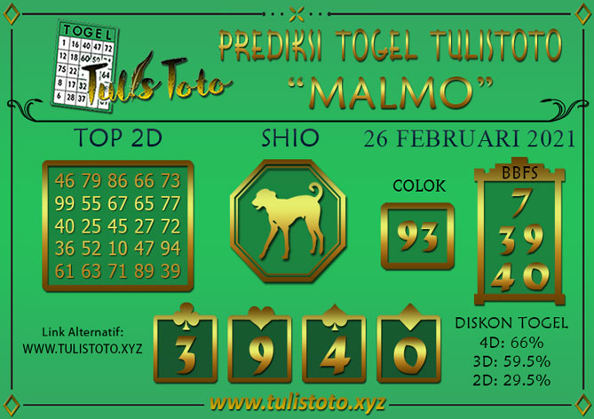 Prediksi Togel MALMO TULISTOTO 26 FEBRUARI 2021