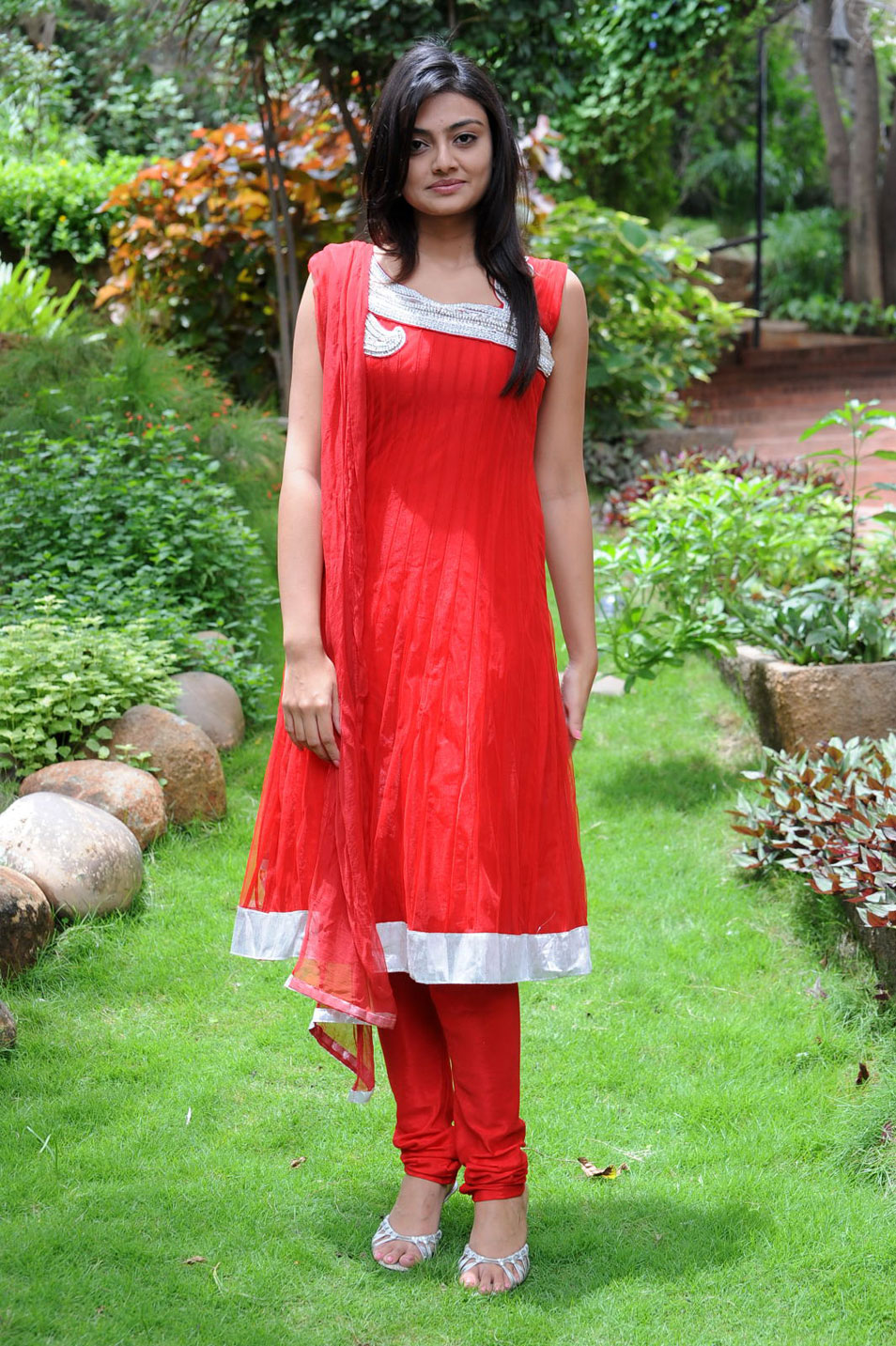 loving and exotic Nikitha narayan in red dress outdoor latest beautiful stills