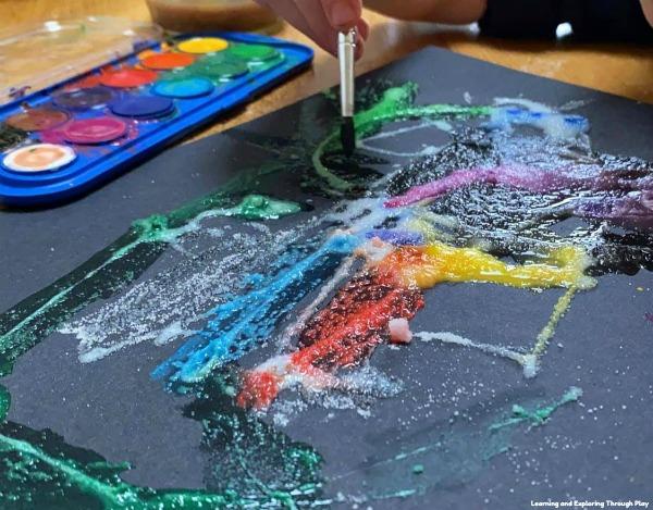 Firework Salt Painting for Kids