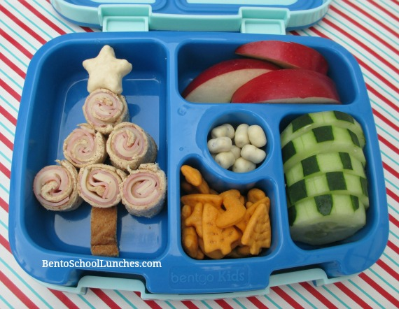 O Christmas Tree Bento Lunch. Roll-Ups