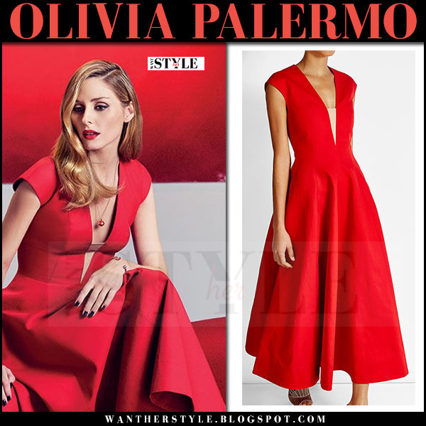 Olivia Palermo in red cocktail dress paule ka piaget ad campaign spring 2017 what she wore
