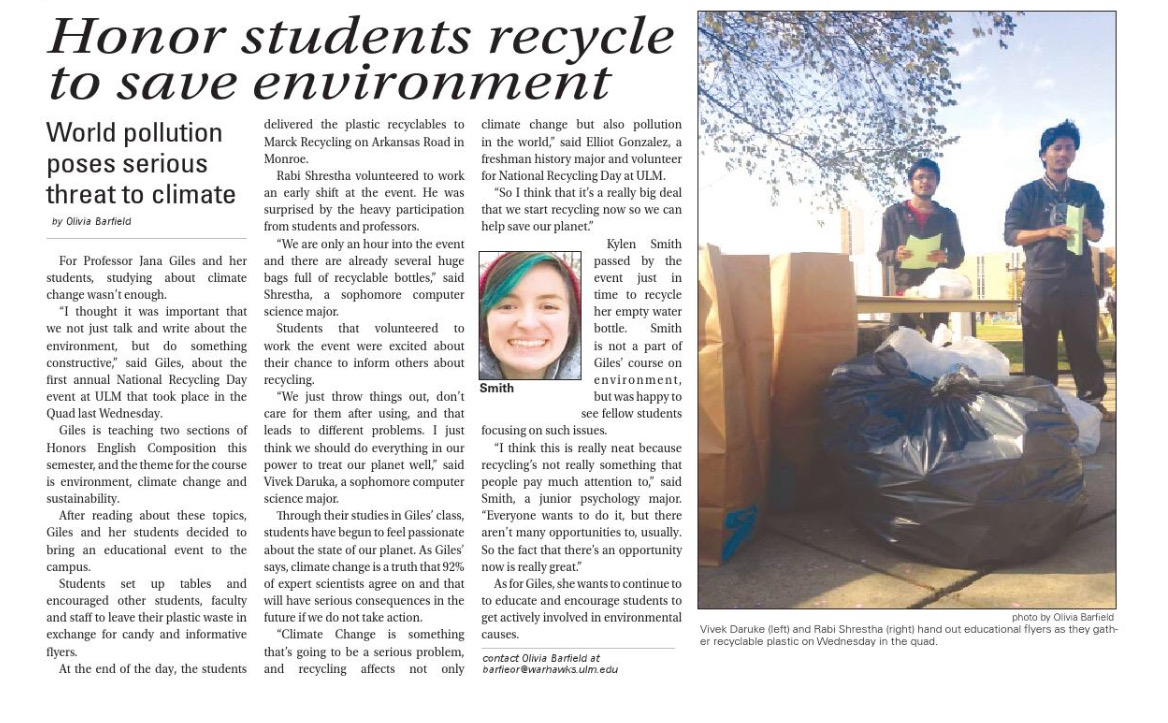 Check Out The Articles Titled Calling ULM New Home Dutch Tennis Star Infiltrates With Monroe Melting Pot And Honor Students Recycle To Save Environment