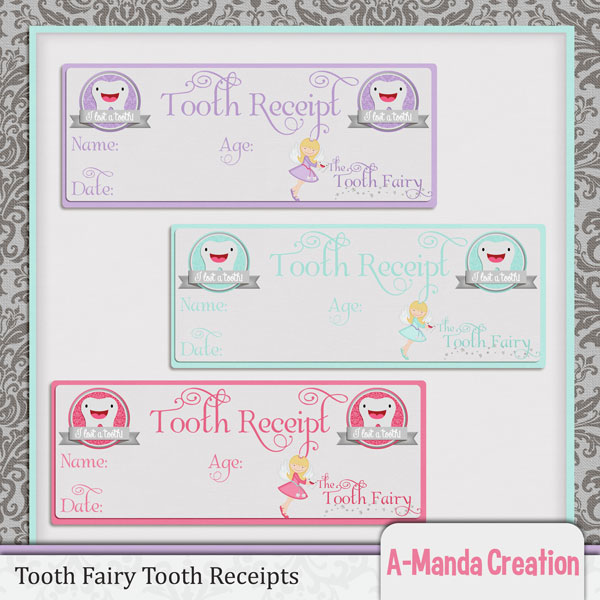 A-Manda Creation Tooth Fairy Printables, projects, tooth receipts