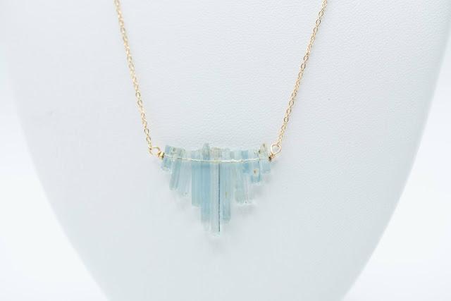Gorgeous Aquamarine Bars Necklace from Raw Amor. Image credit Raw Amor.