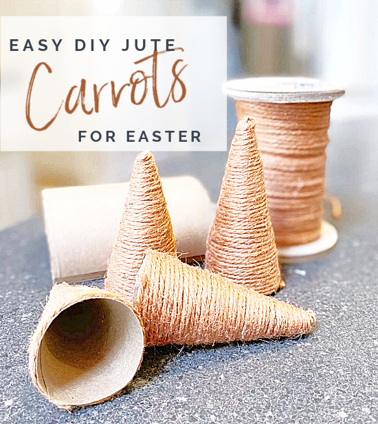 jute carrot cones with Pinterest overlay