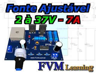Fonte Ajustável 1.2 à 37V - 7A com proteção de curto-circuito com CI LM723