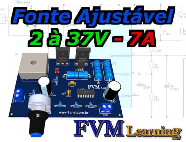 Fonte Ajustável 1.2 à 37V - 7A com proteção de curto-circuito com CI LM723 + PCI