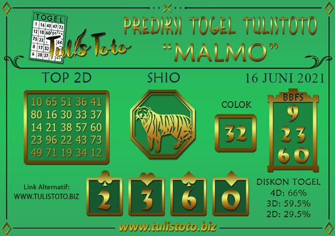 Prediksi Togel MALMO TULISTOTO 16 JUNI 2021