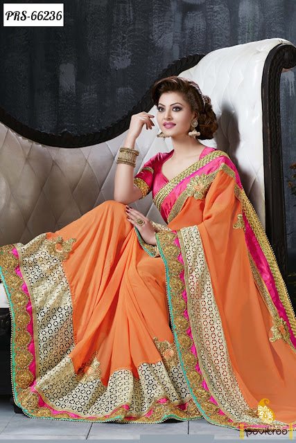 Shop Online Most Beautiful Orange Color Silk Bollywood Sarees Of Urvashi Rautela Designer Collection