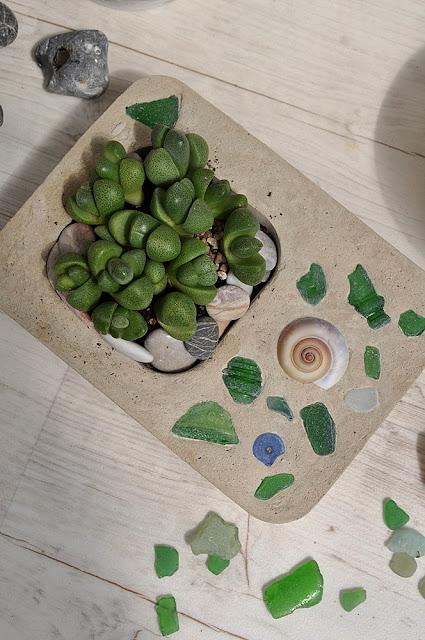 Beton giessen Blumentopf Strandglas