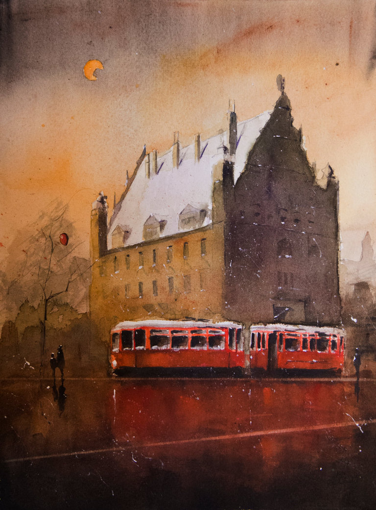 03-A-nocturne-with-the-red-tram-Grzegorz-Chudy-sanderus-Dreams-Started-with-Watercolor-Paintings-www-designstack-co