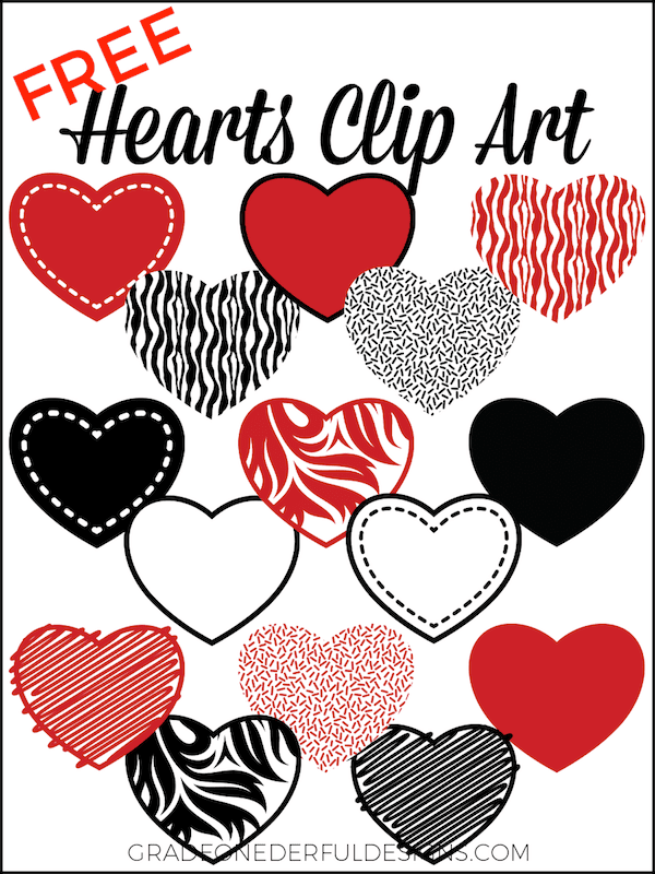 15 Valentine Hearts Clip Art: Free. These beautiful red and black clipart hearts are 8 inches wide on transparent backgrounds. You're gonna love 'em!