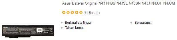harga baterai laptop asus n43 series