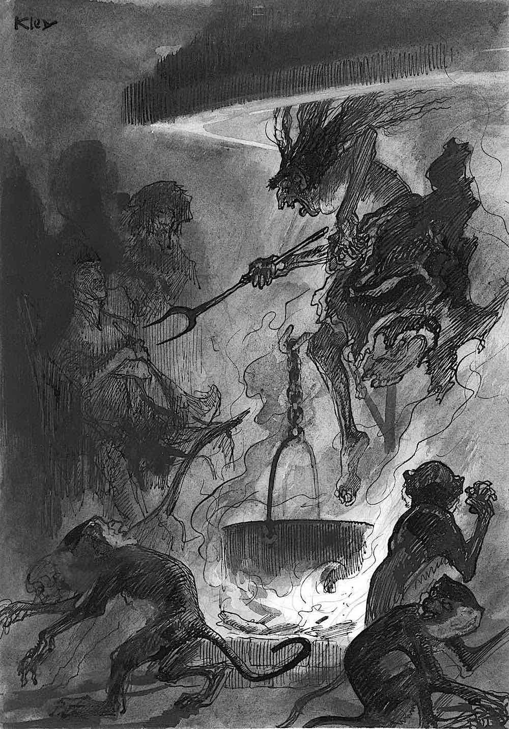 Heinrich Kley demons from a cooking pot or cauldren