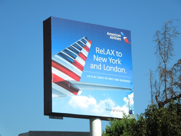 ReLAX to NYC London American Airlines billboard