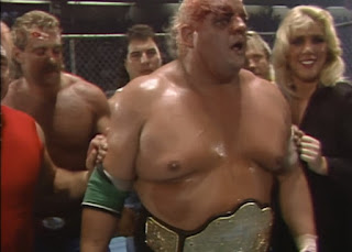 NWA Great American Bash 1986 (Greensboro, July 26th) - Dusty Rhodes celebrates winning the World Heavyweight Title from Ric Flair