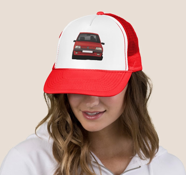 Classic hot hatch Peugeot 205 GTi trucker hat