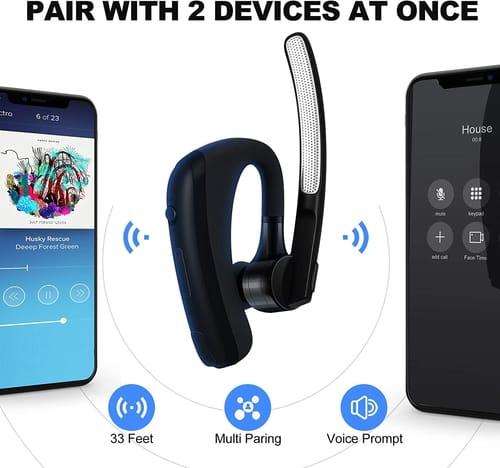 AUXBLUE Bluetooth Headset V5.1 Hrs HD Talktime CVC8.0