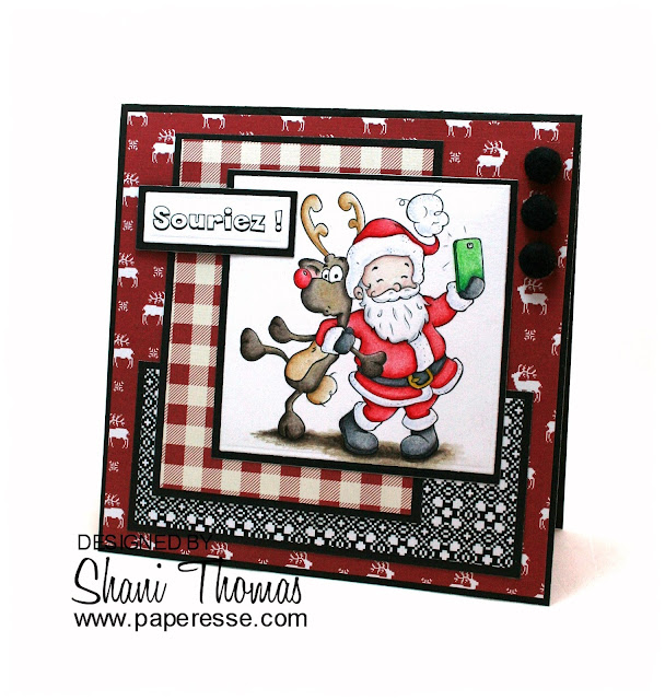 Christmas card featuring The Paper Shelter's Santa Selfie digital stamp, by Paperesse.