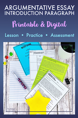 Teaching middle school students how to write an argumentative essay introduction paragraph has never been easier! Use this printable and digital lesson with notes, 3 days of practice and an assessment to get the job done!