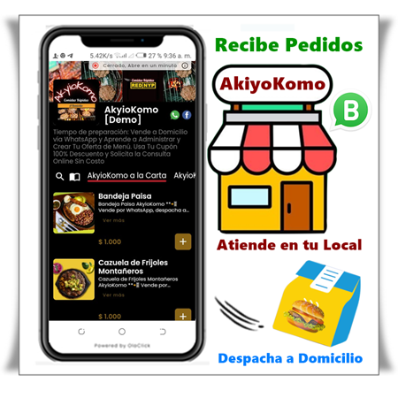 📲 Vende por WhatsApp, despacha a Domicilio o Vende en tu Local. Solicita tu Tienda online Sin Costo, Sin Comisiones.