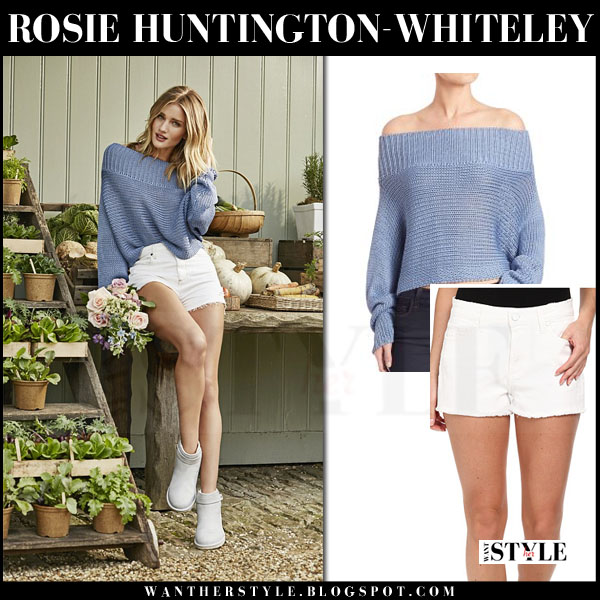 Rosie Huntington-Whiteley in light blue tibi neo sweater, white paige denim callie shorts and grey ankle boots UGG rella frost what she wore ad campaign