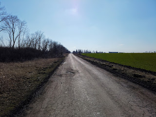 Посёлок Удачное. Дорога и сельскохозяйственное поле с западной стороны посёлка