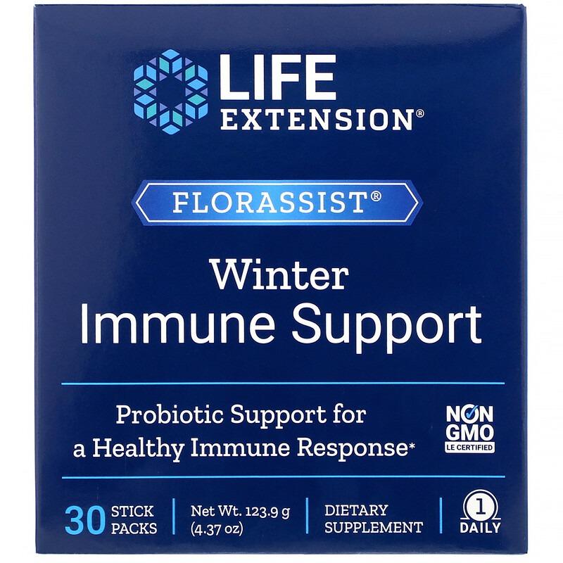 Life Extension, Florassist, средство для укрепления иммунитета зимой, 30 пакетиков