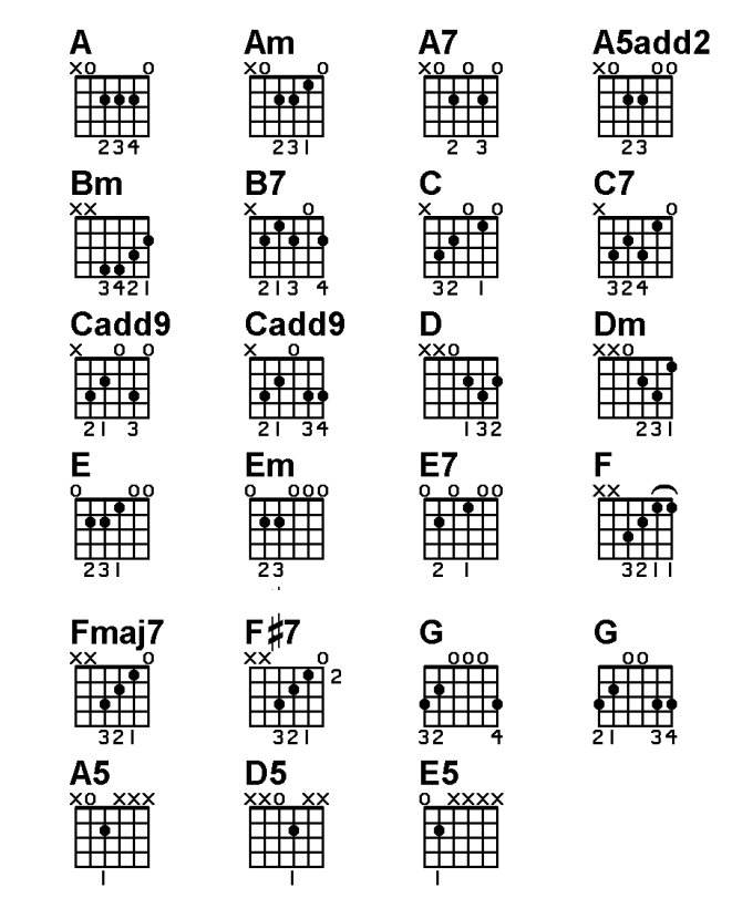 Chord Chart on Acoustic Guitar  Basic Lesson