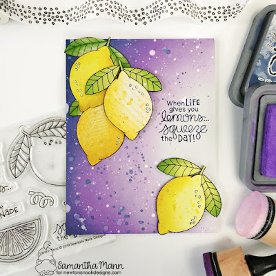 Squeeze the Day Card by Samantha Mann for Newton's Nook Designs, Lemon Twist, Encouragement Card, Distress Oxide Ink, Ink Blending, Paper Piecing, #newtonsnook #newtonsnookdesigns #encouragementcard #cardmaking #distressinks #distressoxide