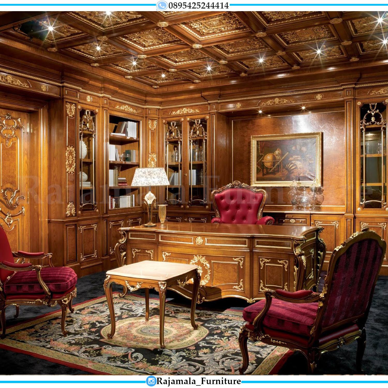 Harga Meja Kantor Mewah Jepara Natural Jati Luxury Model RM-0043