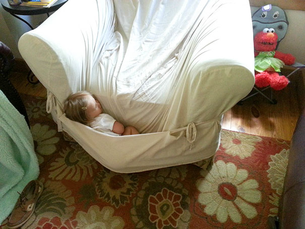 15+ Hilarious Pics That Prove Kids Can Sleep Anywhere - Napping Like A Kangaroo's Baby
