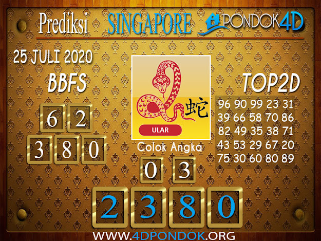 Prediksi Togel SINGAPORE PONDOK4D 25 JULI 2020