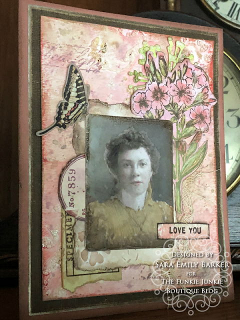 Sara Emily Barker https://sarascloset1.blogspot.com/2020/05/vintage-pink-inspiration.html Mixed Media Card #timholtz #stampersanonymous #rangerdistress #ideaology  9