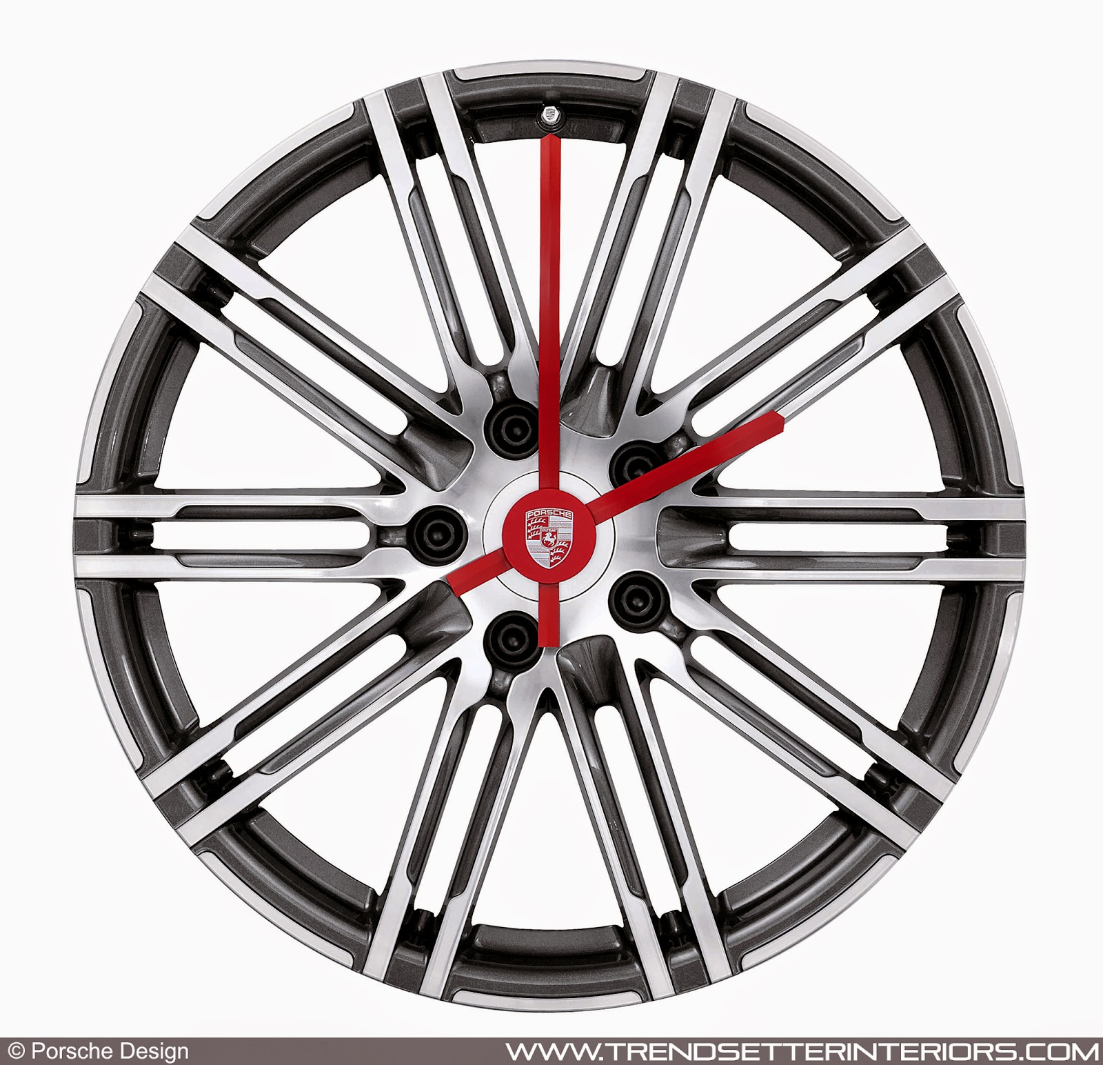 Trendsetter Interiors Porsche Icons For The Home Wall Clock Made From 20 Inch 911 Turbo Rims