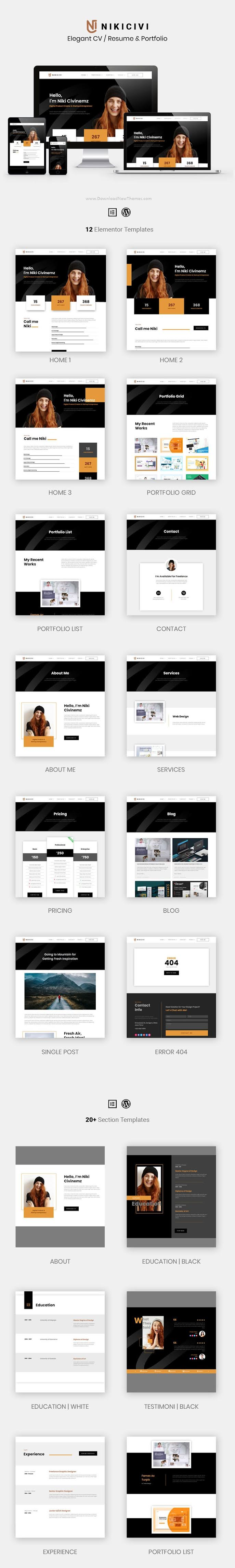 Elegant CV, Resume & Portfolio Elementor Template Kit