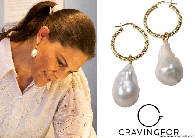 Crown Princess Victoria wore Cravingfor Jewellery baroque pearl gold earrings