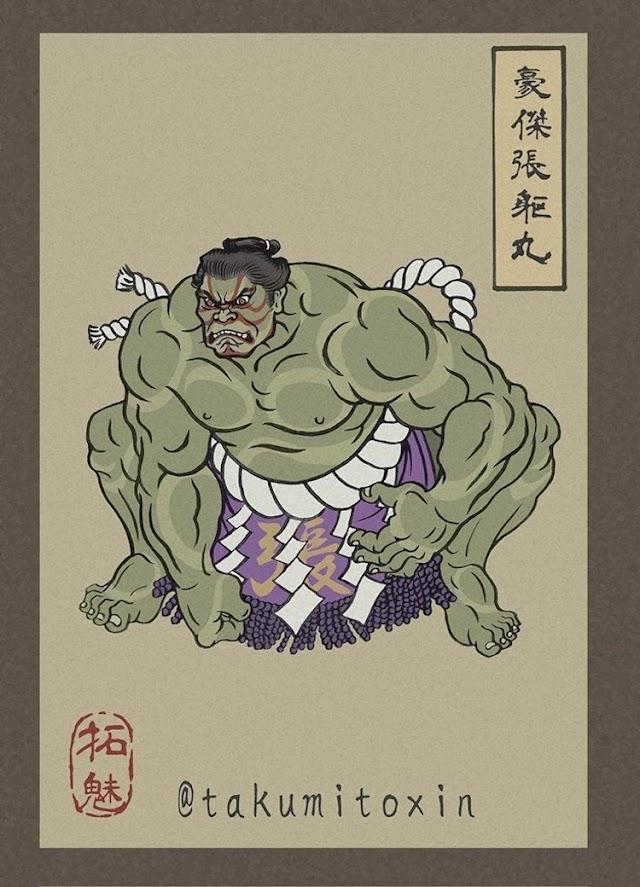 Avengers Endgame Characters as Ukiyo-e Japanese Warriors
