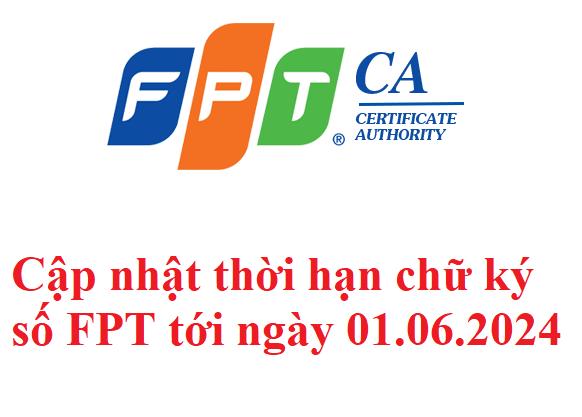 Cập nhật thời hạn chữ ký số FPT CA