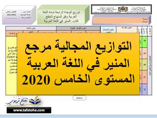 التوازيع المجالية مرجع المنير في اللغة العربية المستوى الخامس 2020 |word-pdf