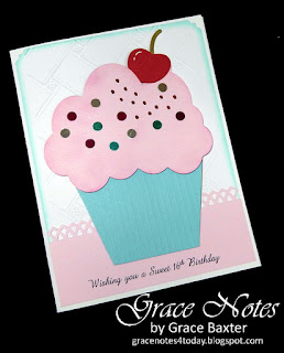 Sweet 16th Birthday card front, by Grace Baxter