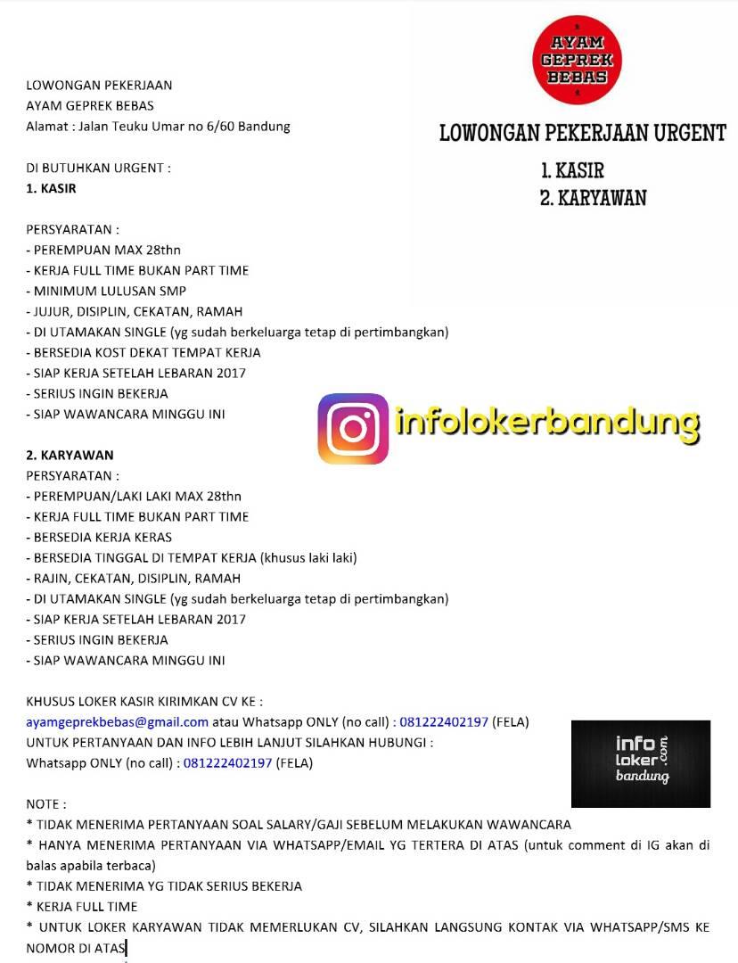Lowongan Kerja Bebek Geprek Bebas Bandung Juni 2017