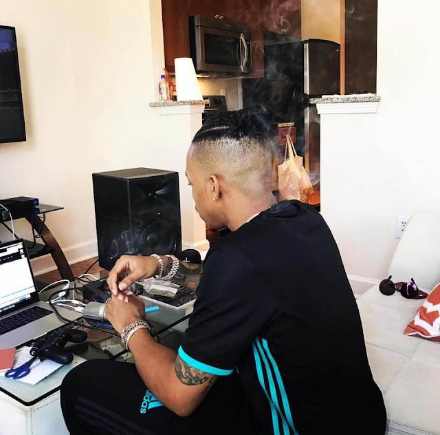 Tekno Producing his music| Photo Courtesy|Tekno fb