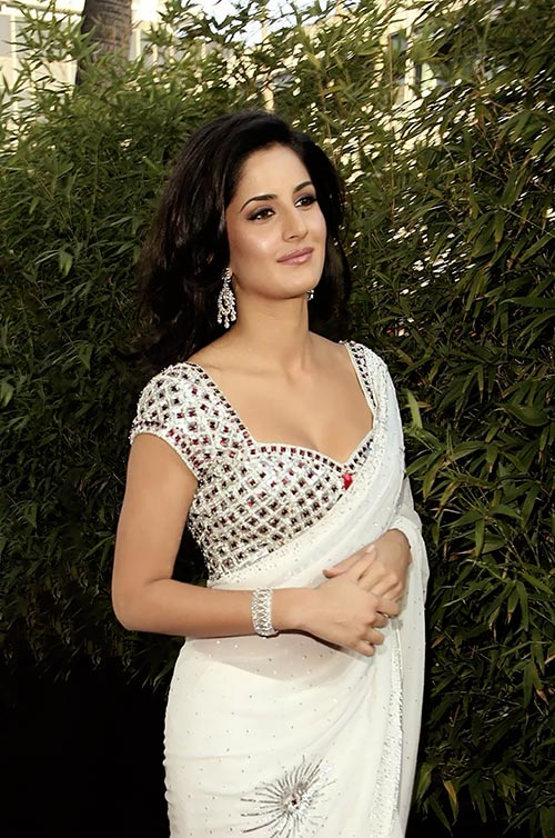Katrina Kaif in white saree cleavage  bollywood actress