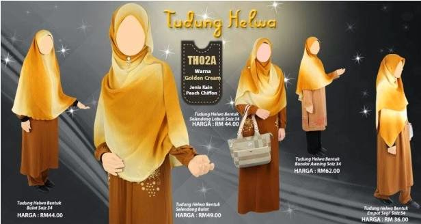 warna golden cream tudung labuh helwa nur