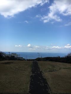 火山博物館から見た海