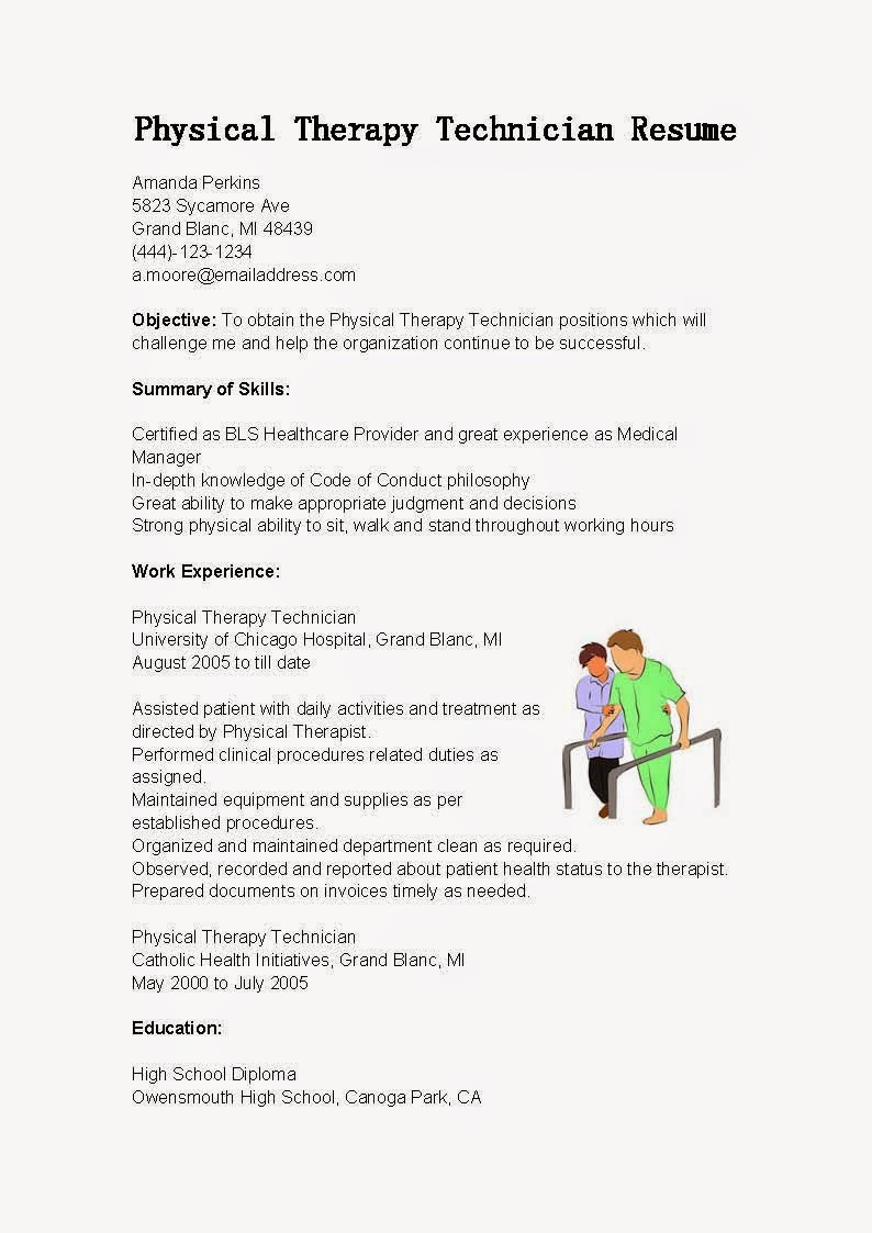 Resume Samples Physical Therapy Technician Resume Sample