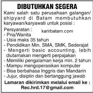 Lowongan Kerja Karyawan Shipyard/Galangan Kapal