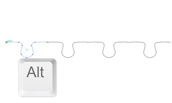 alt click on the left anchor point with the reflect tool to reflect shape on the other side